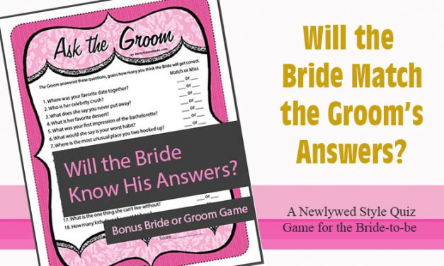 Ask the Groom Bridal Shower Game