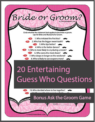 Guess Who Bride Or Groom Game