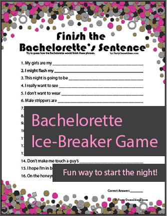 Printable Finish the Bachelorettes Sentence Game
