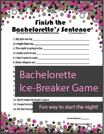 Printable Finish the Bachelorettes Sentence Game