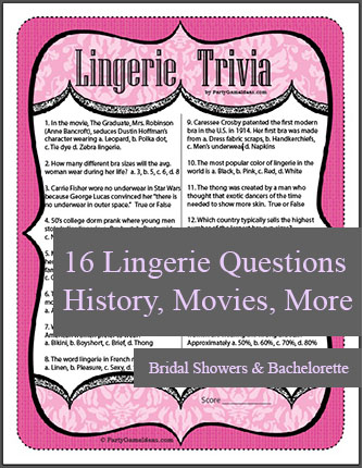 Printable Lingerie Trivia Game for Parties