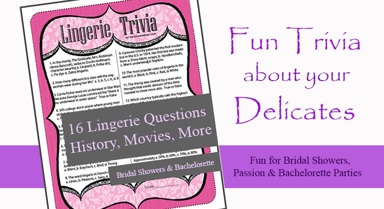 picture about Mardi Gras Trivia Quiz Printable titled Printable Lingerie Trivia Video game