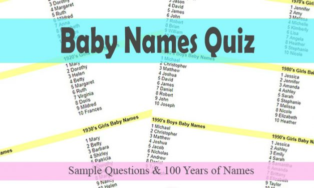 Baby Names Quiz - Top Baby Name Data from 1910 - 2010
