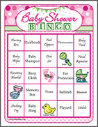 Baby Shower Gift Bingo in Pink, Yellow and Blue