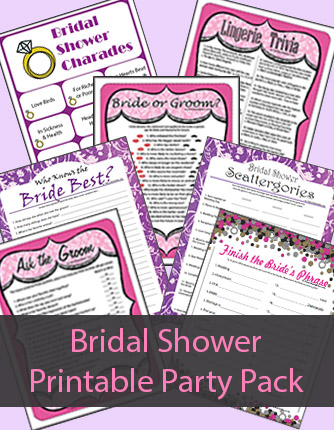 Printable Bridal Shower Games Party Pack