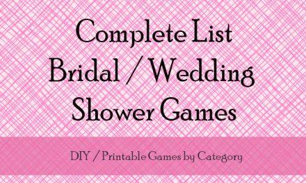 Wedding Shower Games List