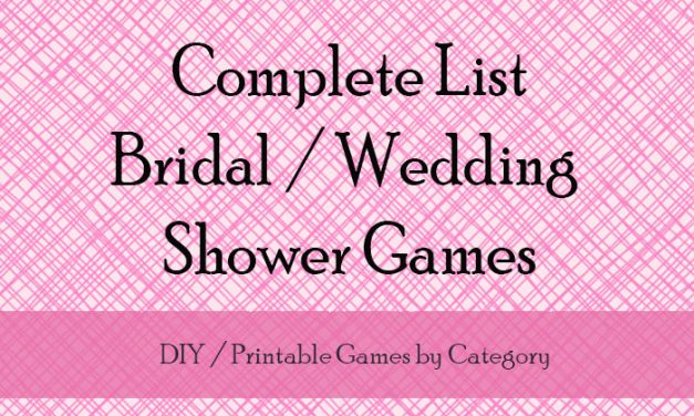 wedding shower games list
