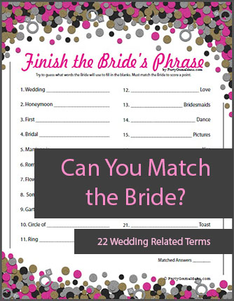 Printable Finish the Bride's Phrase - Bridal Shower Games