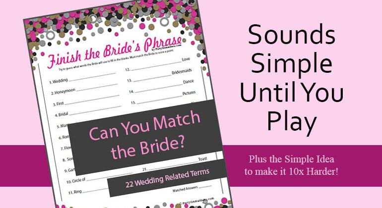Printable Finish the Bride's Phrase Game