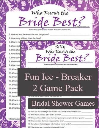 Printable Who Knows the Bride Best Questions - 2 Games