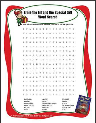 Free Christmas Word Search - Ernie the Elf Word Find