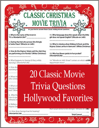 Printable Classic Christmas Movie Trivia Games - Holiday Movie Quiz