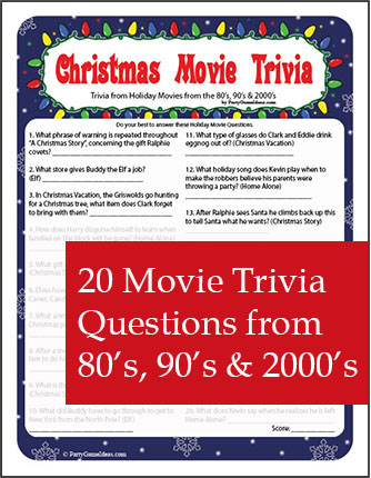 Christmas Movie Trivia - Printable Holiday Movie Trivia Game