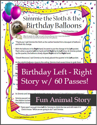 Printable Birthday Left Right Game - Simmie the Sloth and the Birthday Balloons