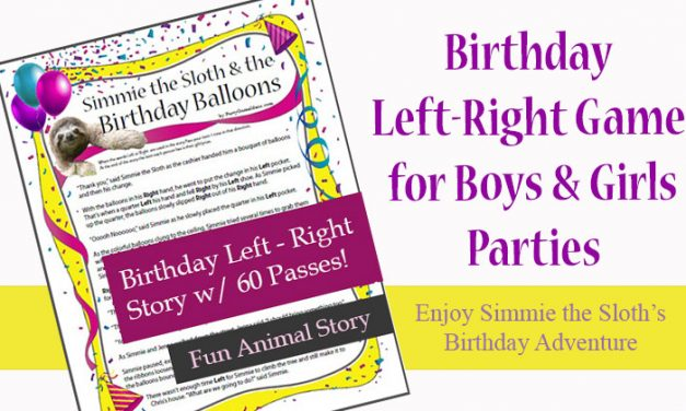 Birthday Left Right Game Sloth and Birthday Balloons