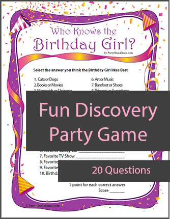Who Knows the Birthday Girl Questions - Printable Party Game