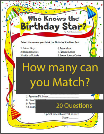 Who Knows the Birthday Star - Printable Birthday Game