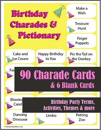 Birthday Charades and Pictionary - Printable Game