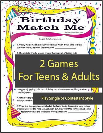 Birthday Match Me - Birthday Party Match Game