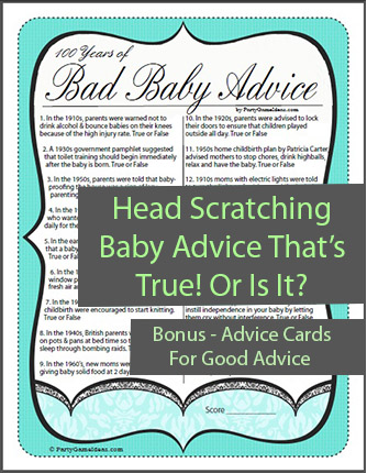 Bad Baby Advice Game and Baby Advice Cards