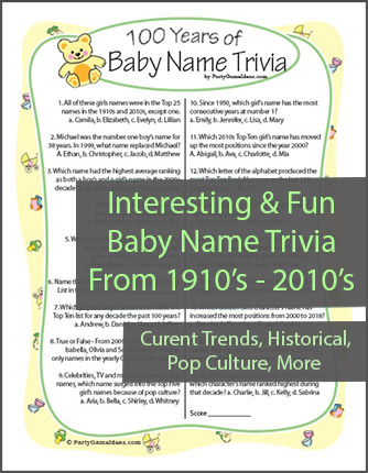 photo about Mardi Gras Trivia Quiz Printable identified as Kid Shower Trivia Recreation - 100 Decades of Boy or girl Popularity Trivia