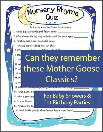 Baby Shower Nursery Rhyme Game - Trivia Quiz