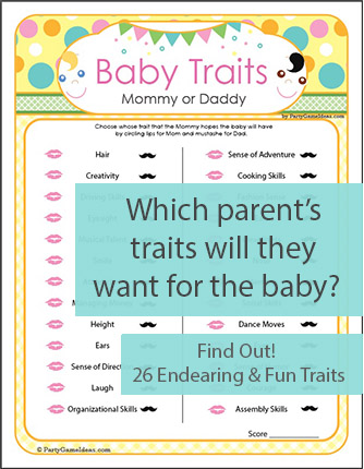 Baby Traits Game for Baby Showers