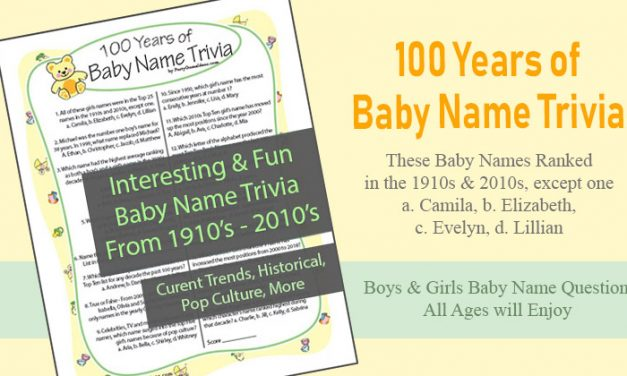 100 Years of Baby Name Trivia Shower Game