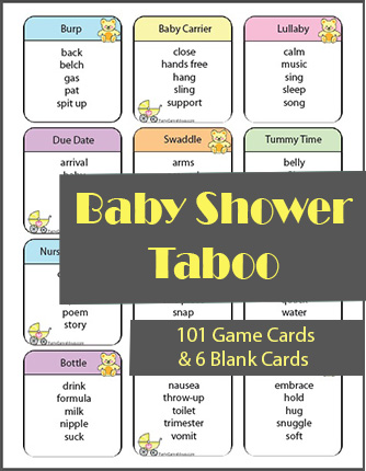 101 Baby Shower Taboo Game Cards