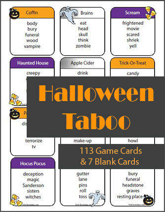 Halloween Taboo Game - 113 Printable Cards