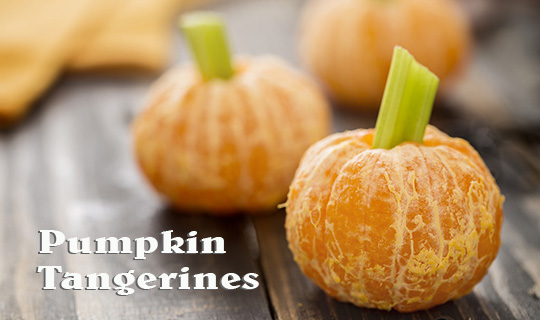 Healthy Halloween Food - Tangerine Pumpkins Snack Kids
