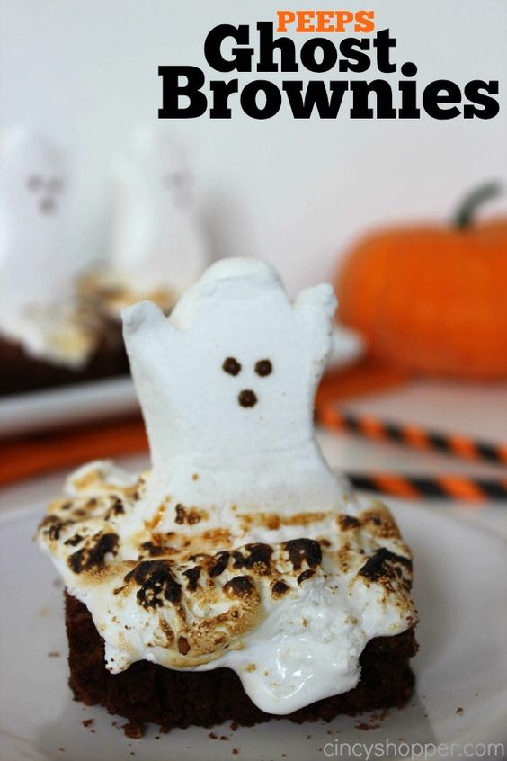 Spooky Peeps Ghost Brownies