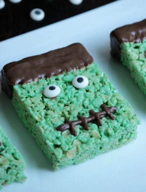 Frankenstein Squares - Rice Krispies