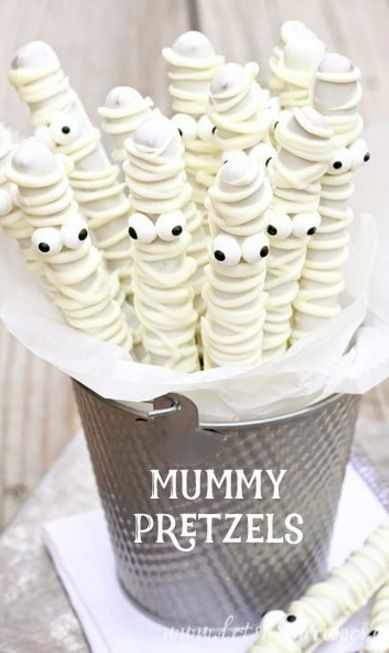Mummy Pretzels - Halloween Pretzel Rod Snacks