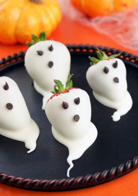 Strawberry Ghosts Halloween Party Snacks