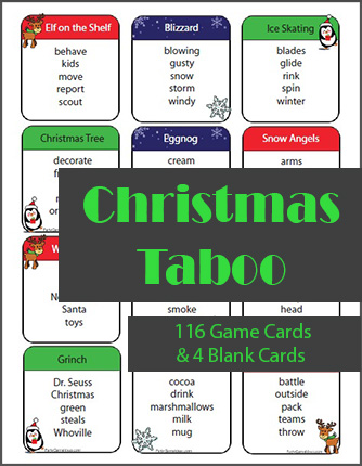 Christmas Taboo Game Cards - Printable Party Game