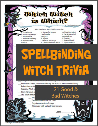 Printable Which Witch Trivia Party Game