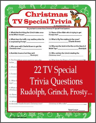 Christmas TV Special Trivia Game - Christmas Cartoon Party Game