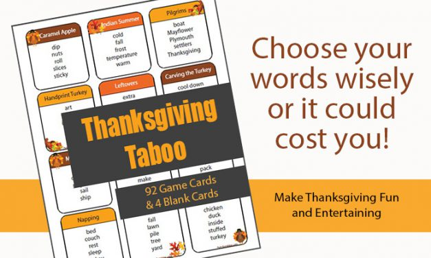 Thanksgiving Taboo Game Cards