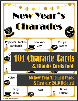 New Years Charades Cards Printable Game
