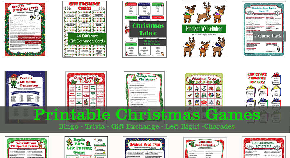 This is a graphic of Printable Christmas Party Games with regard to kids