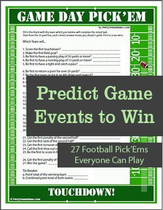 Football Party Game Day Pick'Em Printable Game for Super Bowl and Football Games