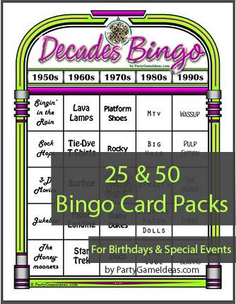 Decades Bingo - Printable Bingo Cards