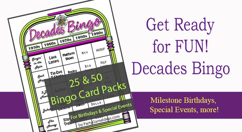 Decades Bingo Cards 1950s to 1990s