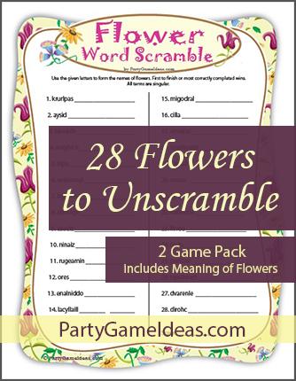 Flowers Word Scramble Game - Printable Unscramble Word Game