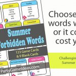 Summer Forbidden Words Game – Taboo Like Game