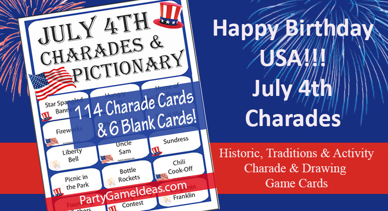 July 4th Charades and Drawing Game Cards