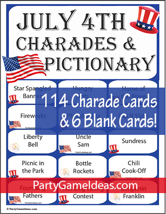 July 4th Charades Printable Cards