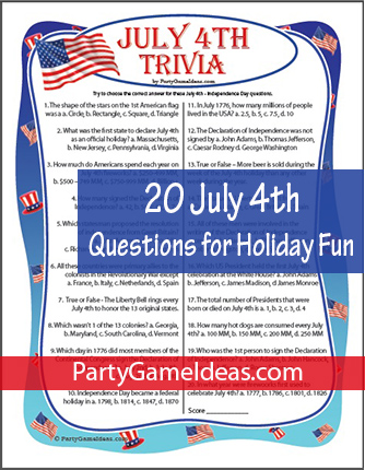 July 4th Trivia Printable Game