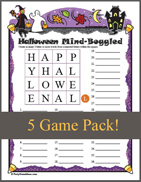 Halloween Mind Boggled Printable Word Puzzle for Kids